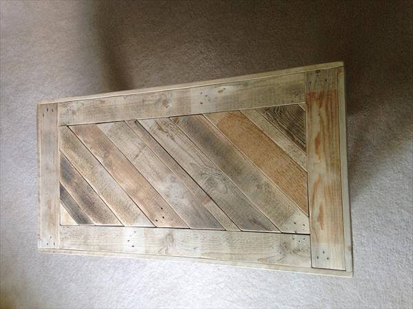 upcycled pallet coffee table with diagonal top pattern