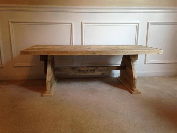 recycled pallet coffee table with trestle base