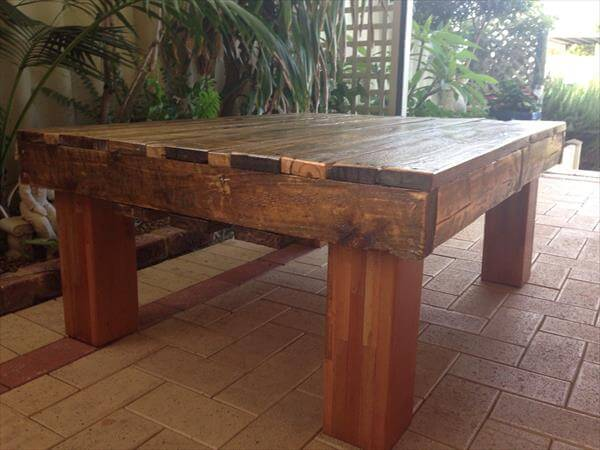 diy sturdy pallet coffee table with strong legs pallet
