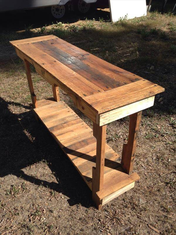 recycled pallet entry table and foyer table