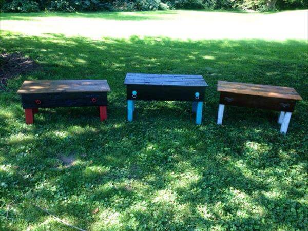 recycled pallet garden benches