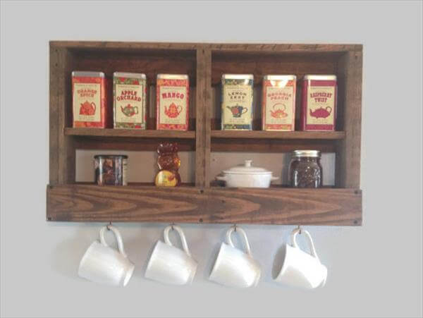 recycled pallet kitchen tea and coffee rack