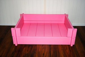 recycled pallet painted pet bed