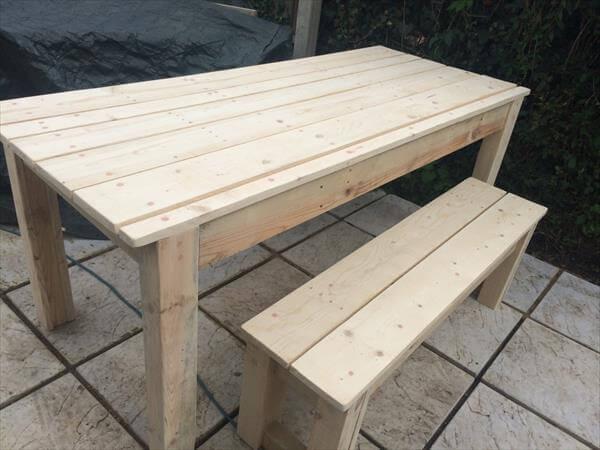 Diy pallet farmhouse table patio table pallet for Pallet patio table