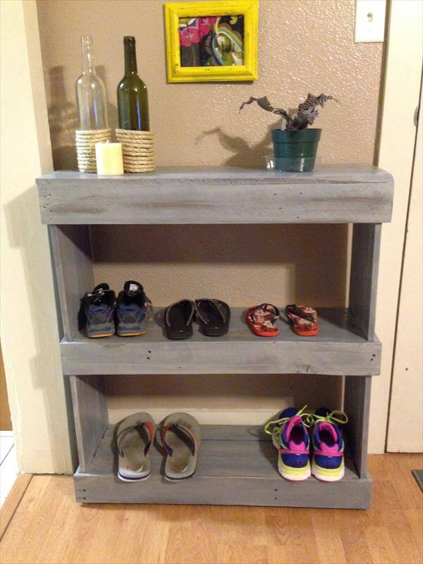 how to make a shoe rack out of pallets