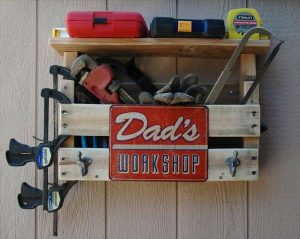 recycled pallet tool organizer and coat rack