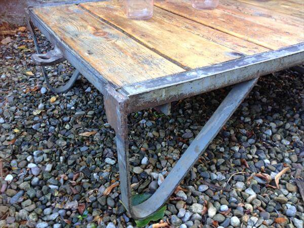 handmade pallet trolley and coffee table