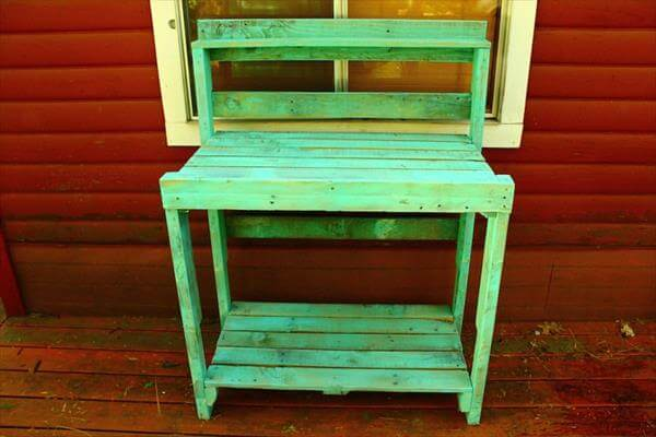 recycled pallet turquoise potting bench idea on a budget