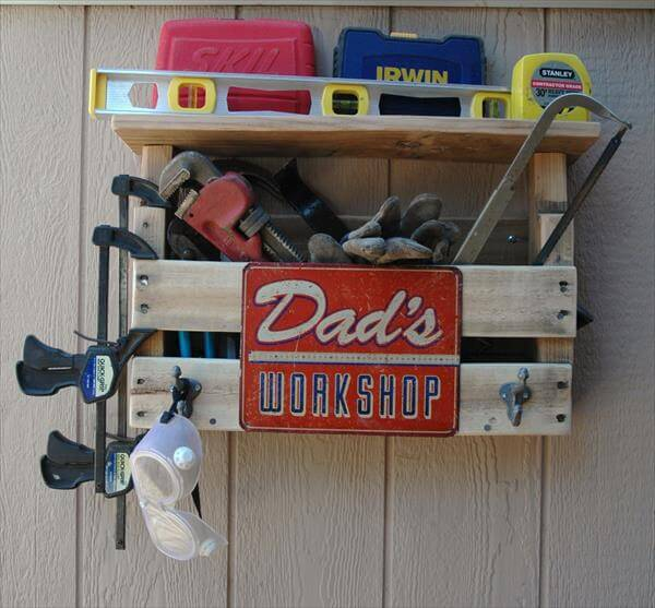 reclaimed pallet workroom tool organizer with hooks
