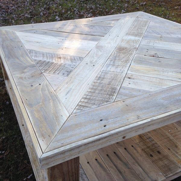 repurposed pallet square coffee table