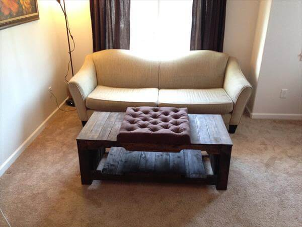 recycled pallet tufted coffee table