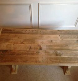 reclaimed pallet coffee table with trestle base