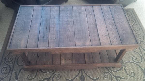 wooden pallet two leveled coffee table