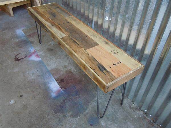 reclaimed pallet bench with metal hairpin legs