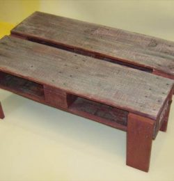 repurposed pallet coffee table and TV stand