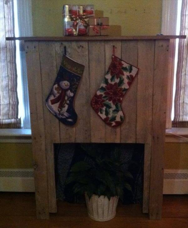 upcycled pallet faux fireplace