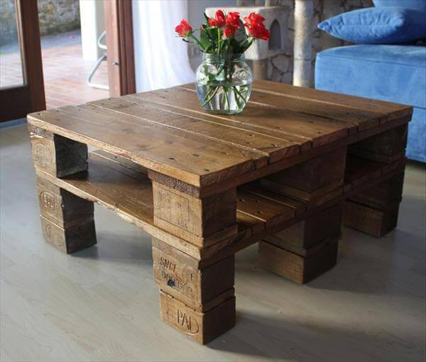 recycled pallet squared top coffee table