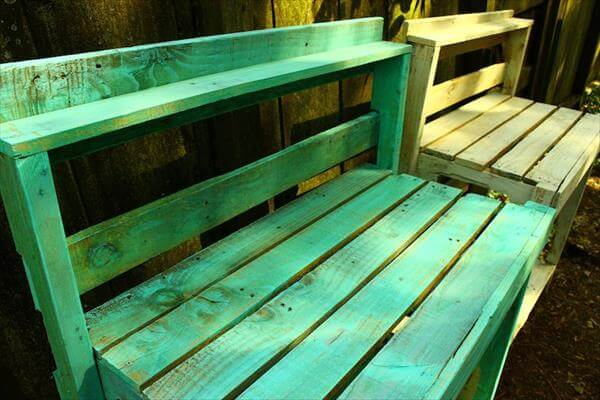 repurposed pallet potting benches