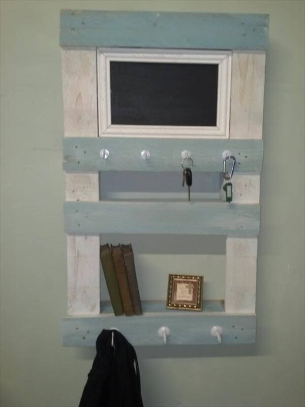 recycled pallet wall shelf and organizer