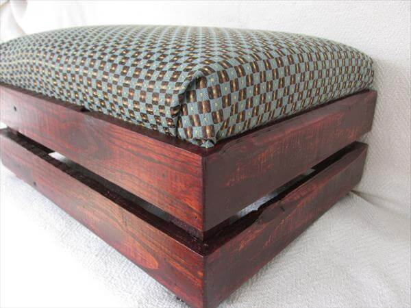 repurposed pallet upholstered ottoman and footstool