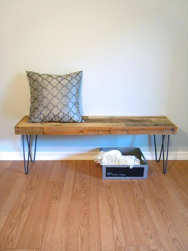 reclaimed pallet bench with hairpin legs