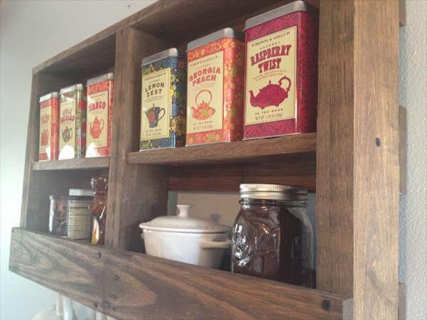 diy pallet kitchen tea and coffee rack
