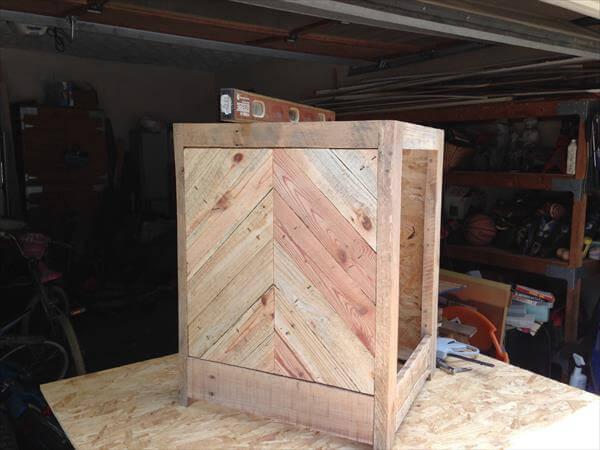 handmade chevron pallet nightstand