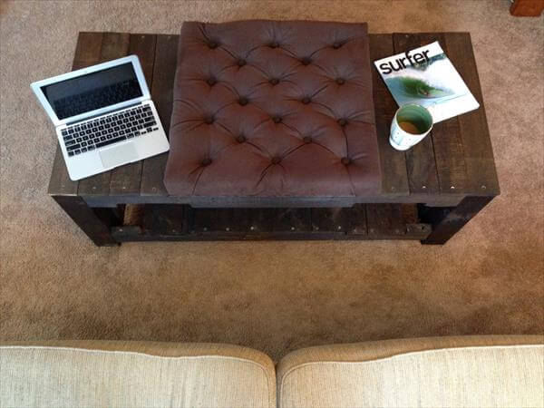 reclaimed pallet tufted coffee table and ottoman