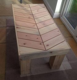 recycled pallet wood chevron bench