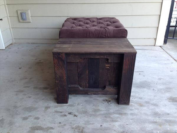 repurposed pallet tufted coffee table and ottoman