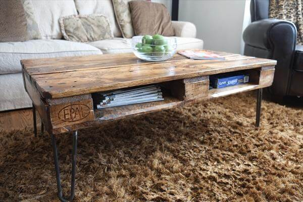 upcycled pallet skid coffee table with hairpin metal legs