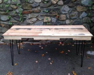 reclaimed pallet desk with metal hairpin legs