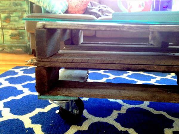repurposed pallet wood coffee table with wheels