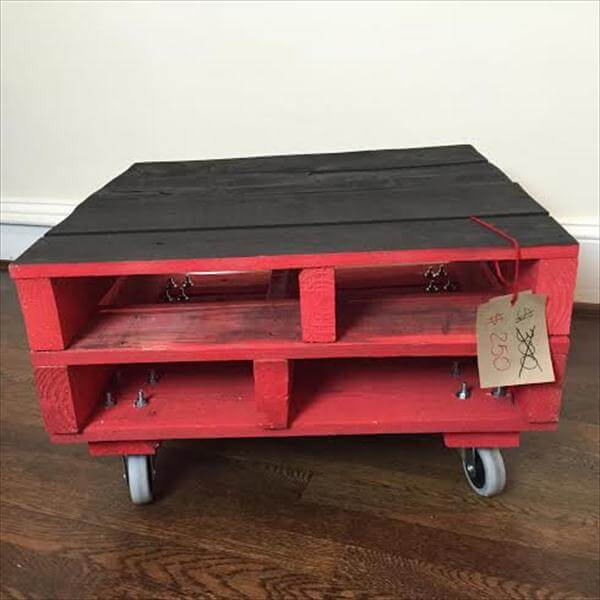 Diy red chalk painted coffee table pallet furniture diy for Painted pallet coffee table
