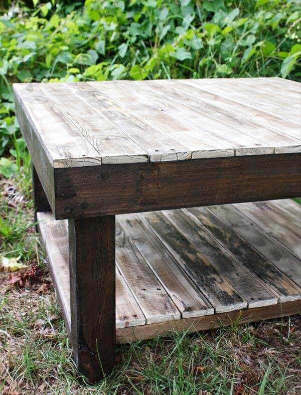 recycled pallet coffee table with two levels