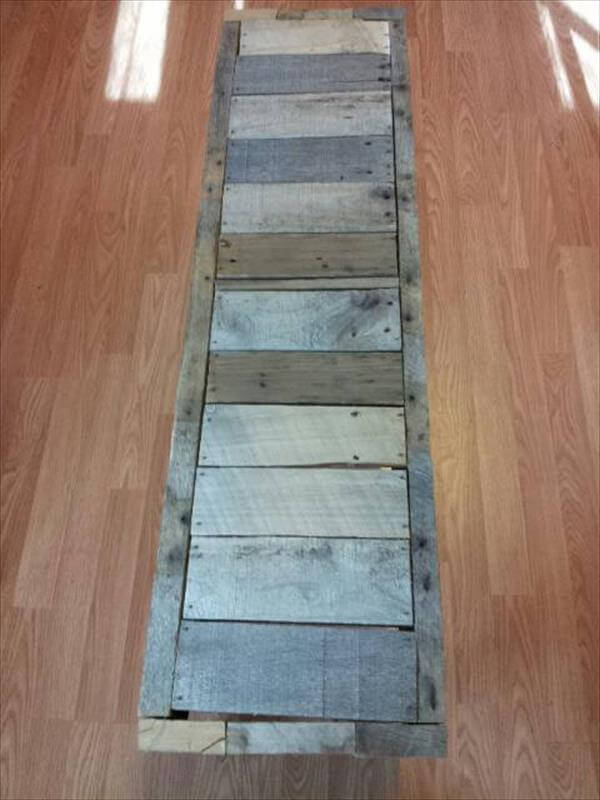 upcycled pallet rustic entryway bench