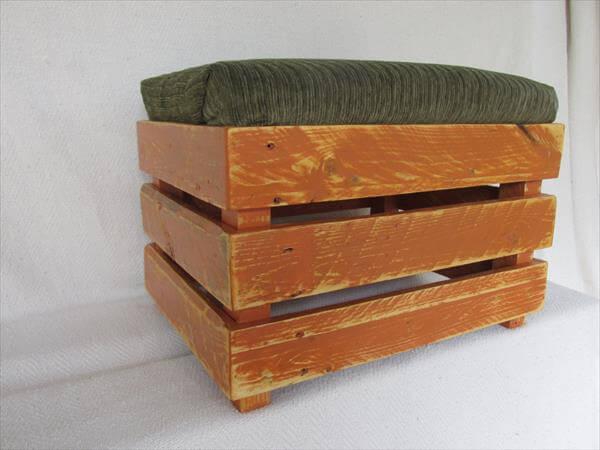 repurposed pallet upholstered pallet ottoman