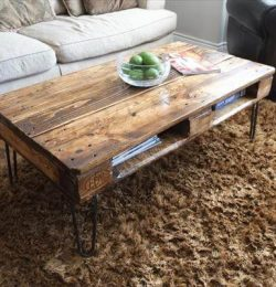 repurposed pallet coffee table with metal hairpin legs