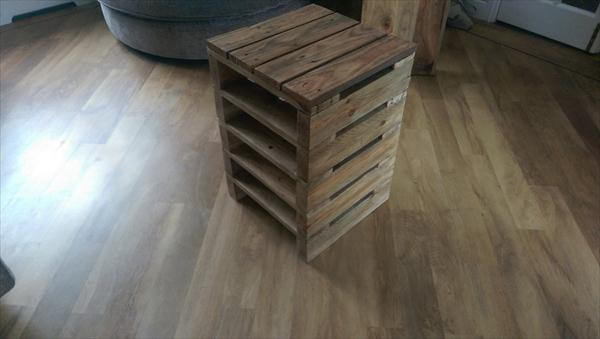 upcycled pallet bedside table and nightstand