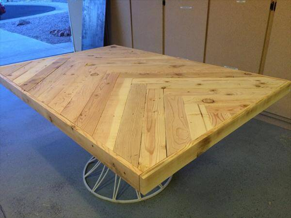 recycled pallet herringbone table