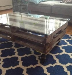 recycled pallet coffee table with glass top and wheels