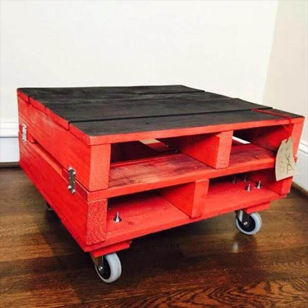 DIY Red Chalk Painted Coffee Table Pallet Furniture