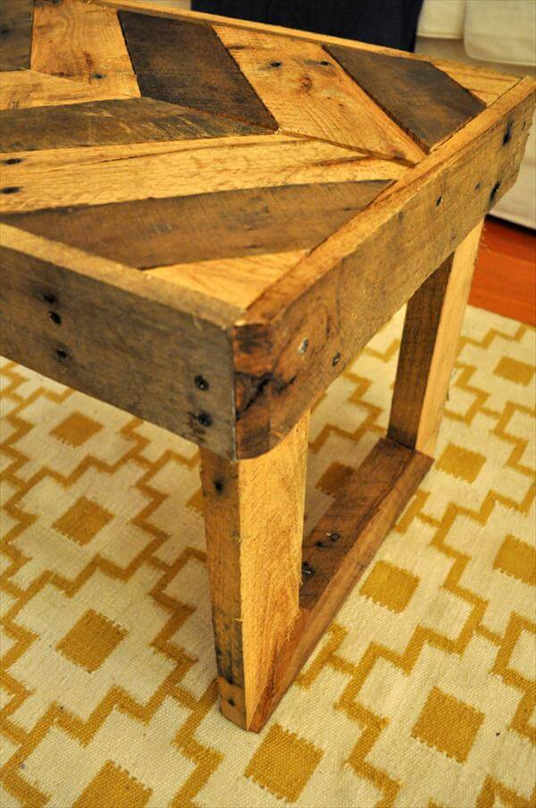 DIY Pallet Chevron Coffee Table with Flat Box Legs  : rustic pallet chevron coffee table from palletfurniturediy.com size 600 x 904 jpeg 90kB