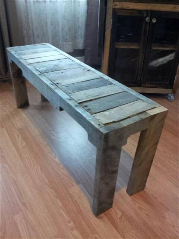 handmade pallet entry way bench