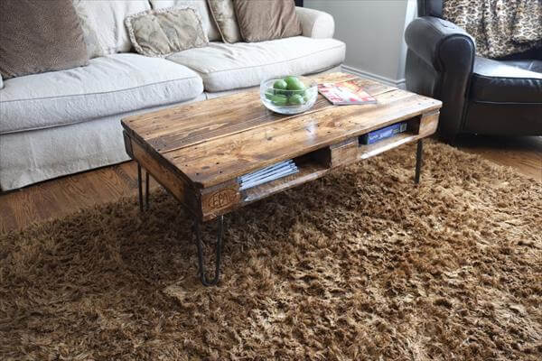 rustic pallet skid coffee table with metal legs Unique Coffee Table Diy Pallet Wood Dining Table With Steel Legs  Pallets