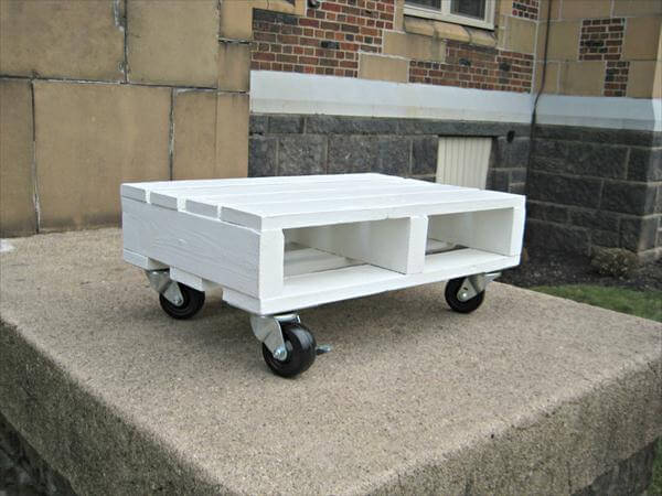 White Pallet Coffee Table diy white pallet coffee table on wheels | pallet furniture diy