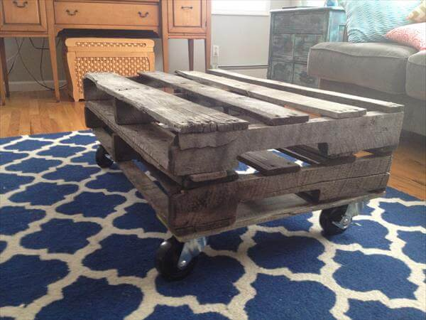 ultra rustic pallet coffee table with casters