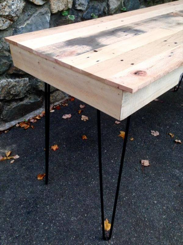 ... table with hairpin legs diy pallet table and side table with hairpin