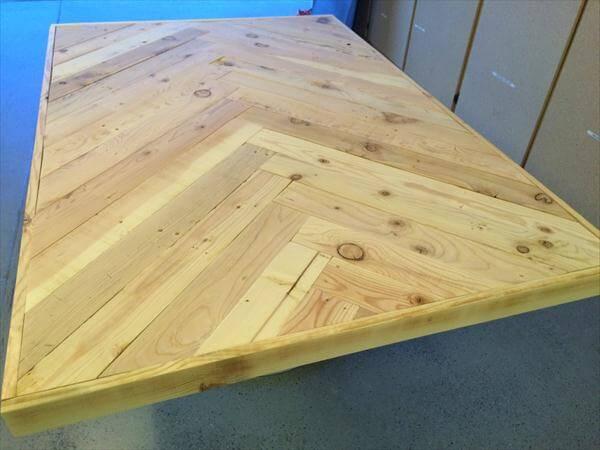repurposed pallet herringbone table