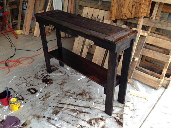 handcrafted pallet sofa and entry way table